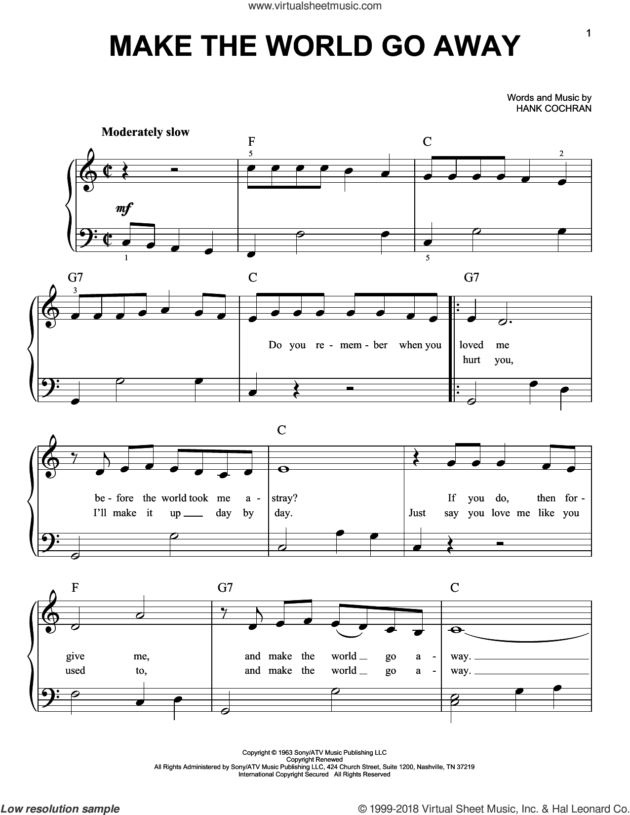 Make The World Go Away sheet music for piano solo by Eddy Arnold, Elvis Presley, Ray Price and Hank Cochran, beginner skill level