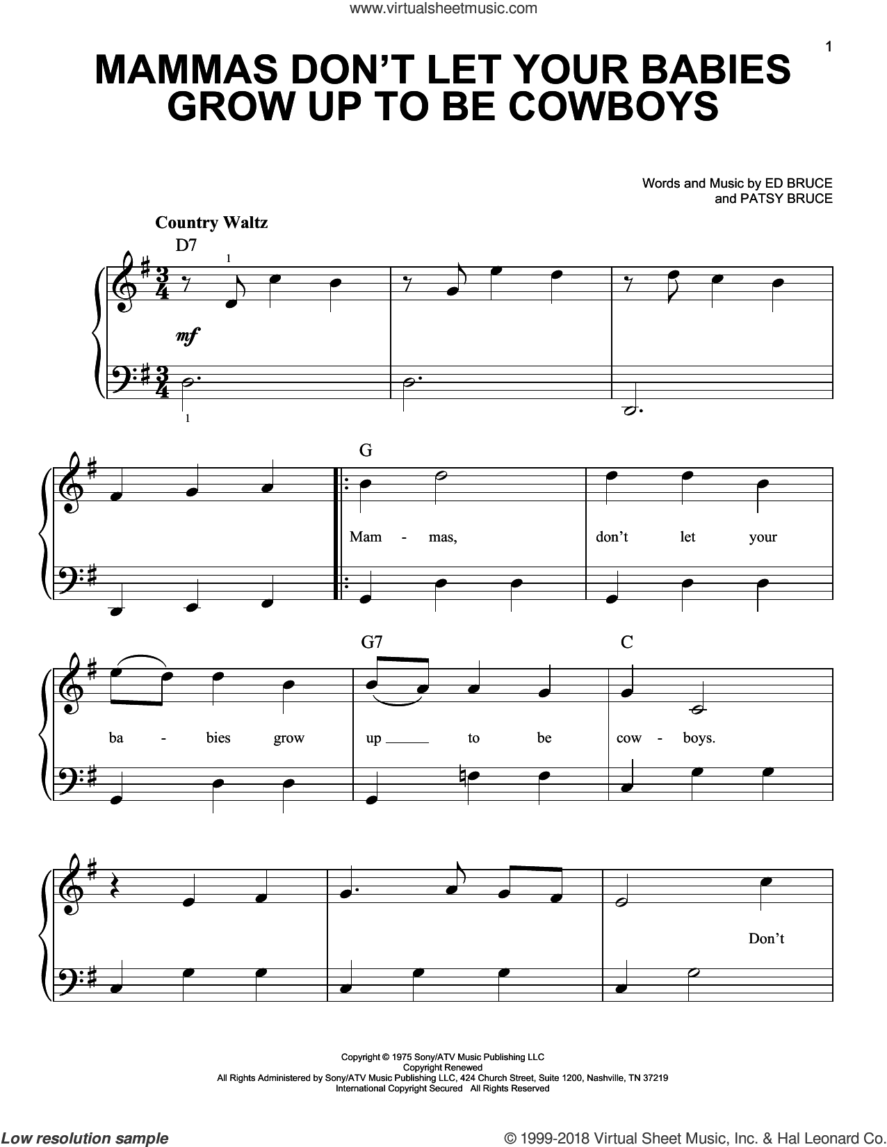 Mammas Don't Let Your Babies Grow Up To Be Cowboys sheet music for piano solo by Willie Nelson, Waylon Jennings, Ed Bruce and Patsy Bruce, beginner skill level
