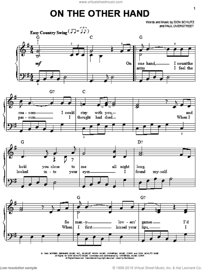 On The Other Hand sheet music for piano solo by Paul Overstreet, Randy Travis and Don Schlitz. Score Image Preview.