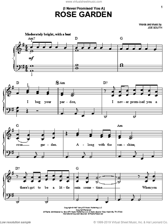 (I Never Promised You A) Rose Garden sheet music for piano solo by Lynn Anderson, Martina McBride and Joe South, easy skill level