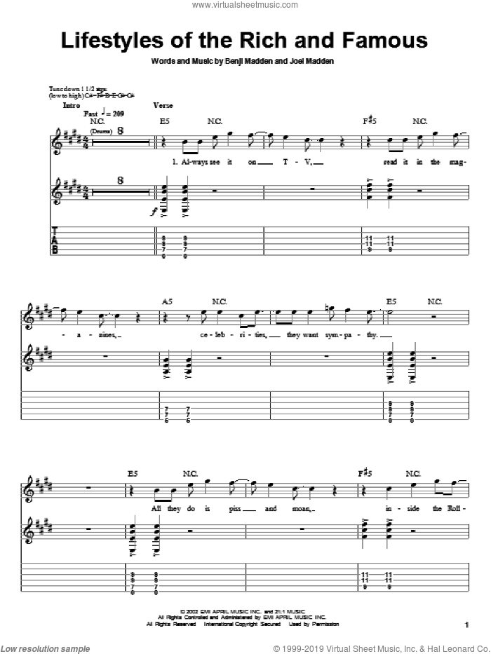 Lifestyles Of The Rich And Famous sheet music for guitar (tablature, play-along) by Good Charlotte, Benji Madden and Joel Madden, intermediate. Score Image Preview.