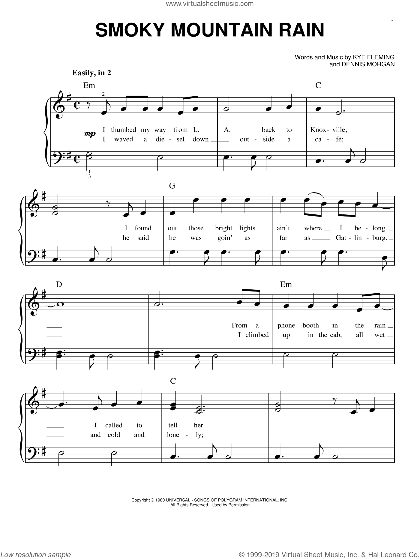 Smoky Mountain Rain sheet music for piano solo by Ronnie Milsap and Dennis Morgan. Score Image Preview.