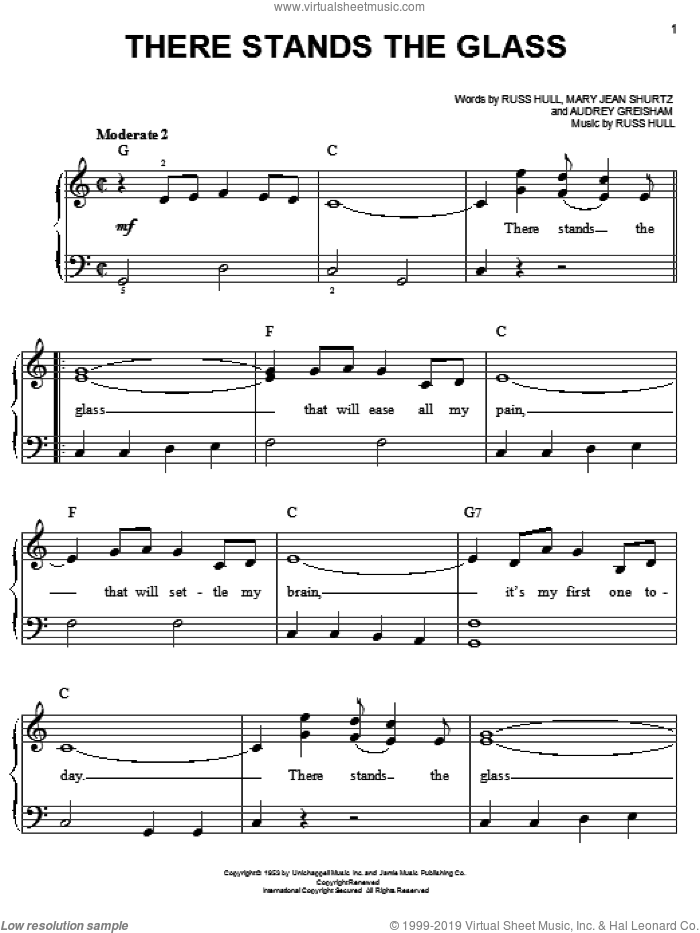 There Stands The Glass sheet music for piano solo by Webb Pierce, Audrey Greisham, Mary Jean Shurtz and Russ Hull, easy skill level