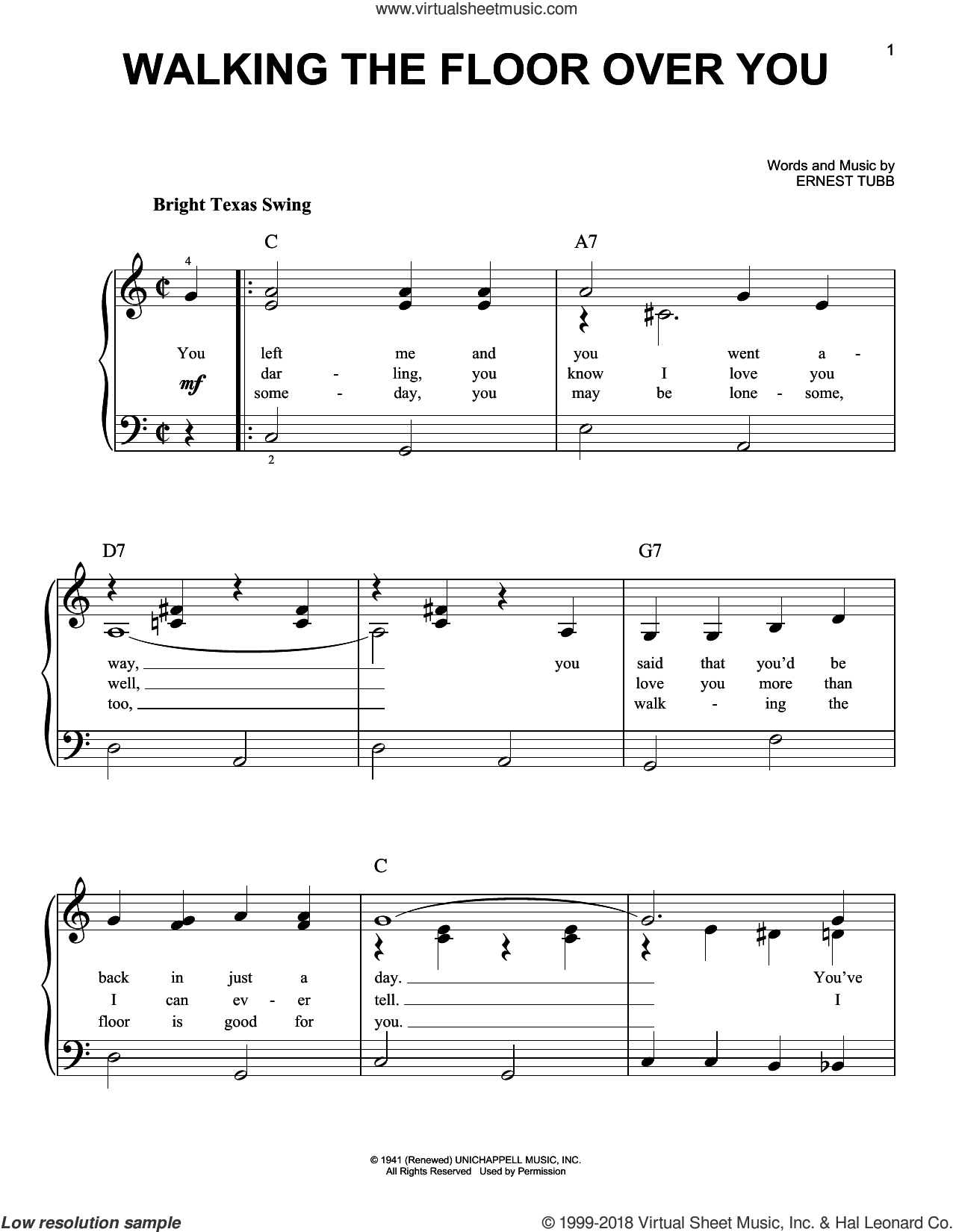 Walking The Floor Over You sheet music for piano solo by Ernest Tubb, beginner skill level