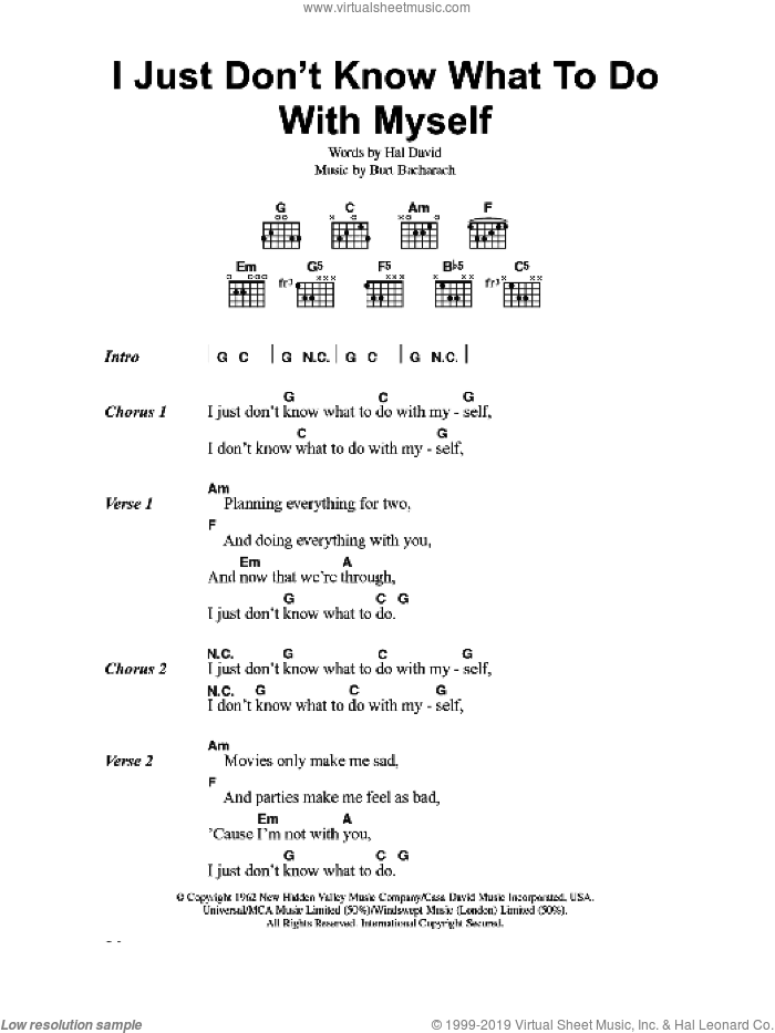 I Just Don't Know What To Do With Myself sheet music for guitar (chords) by The White Stripes, Bacharach & David, Dusty Springfield, Burt Bacharach and Hal David, intermediate skill level