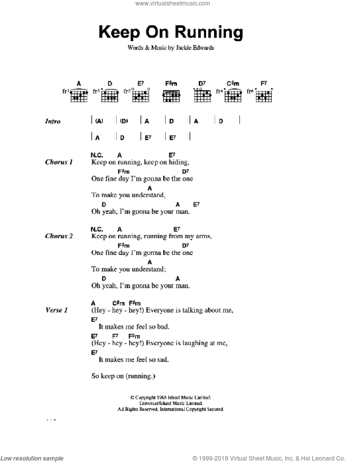 Keep On Running sheet music for guitar (chords) by The Spencer Davis Group and Jackie Edwards, intermediate skill level