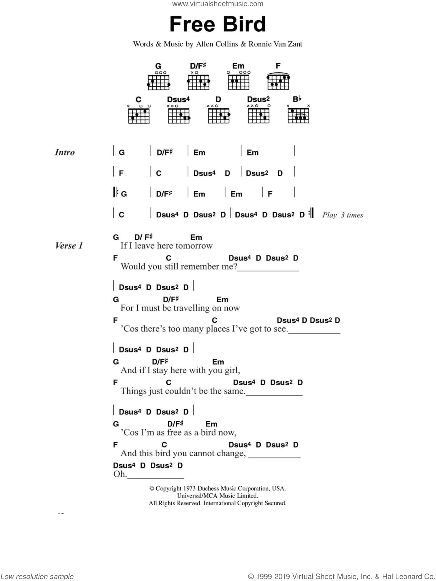 Free Bird sheet music for guitar (chords) by Ronnie Van Zant, Lynyrd Skynyrd and Allen Collins. Score Image Preview.
