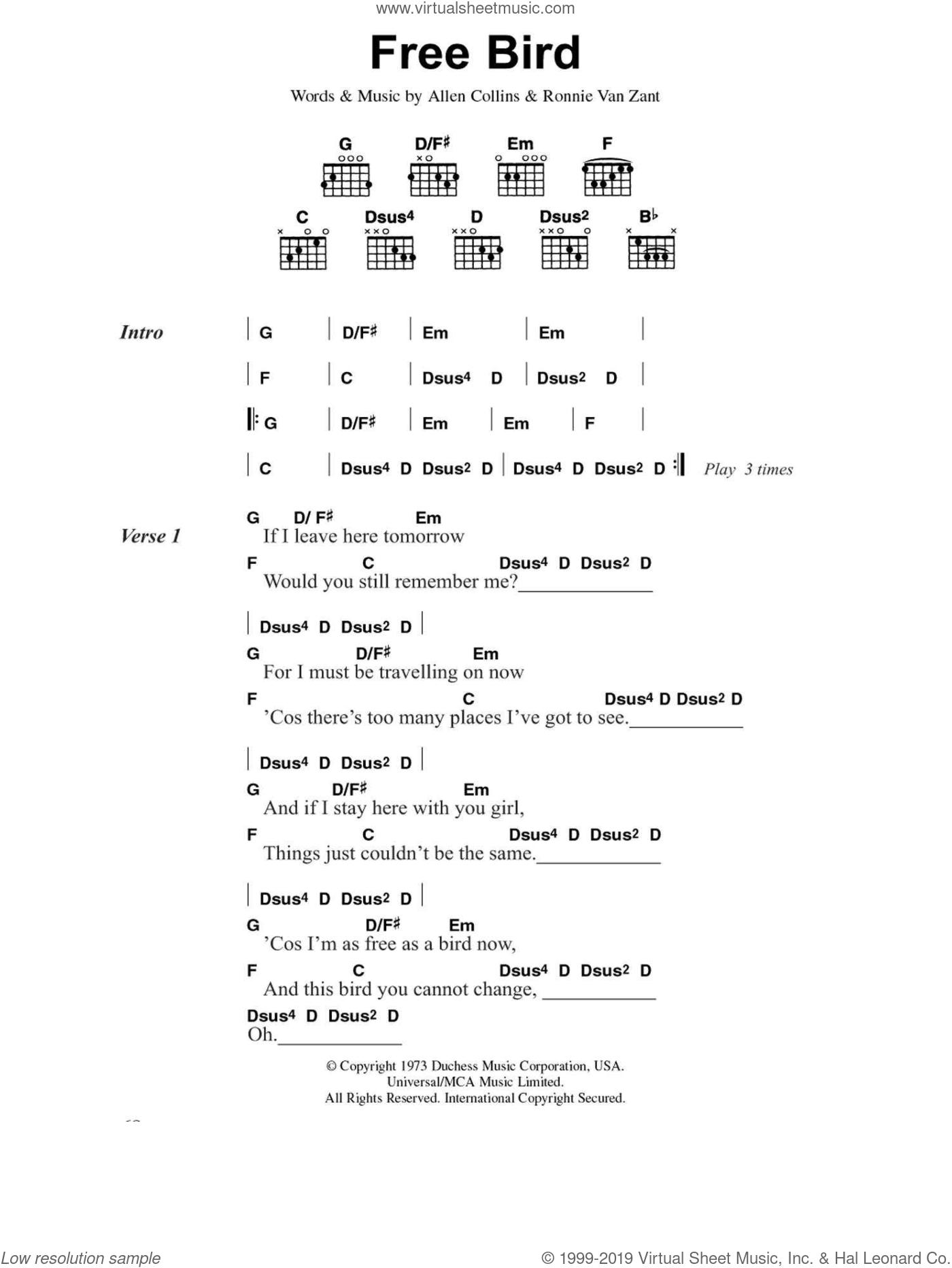 Free Bird sheet music for guitar (chords) by Lynyrd Skynyrd, Allen Collins and Ronnie Van Zant, intermediate skill level