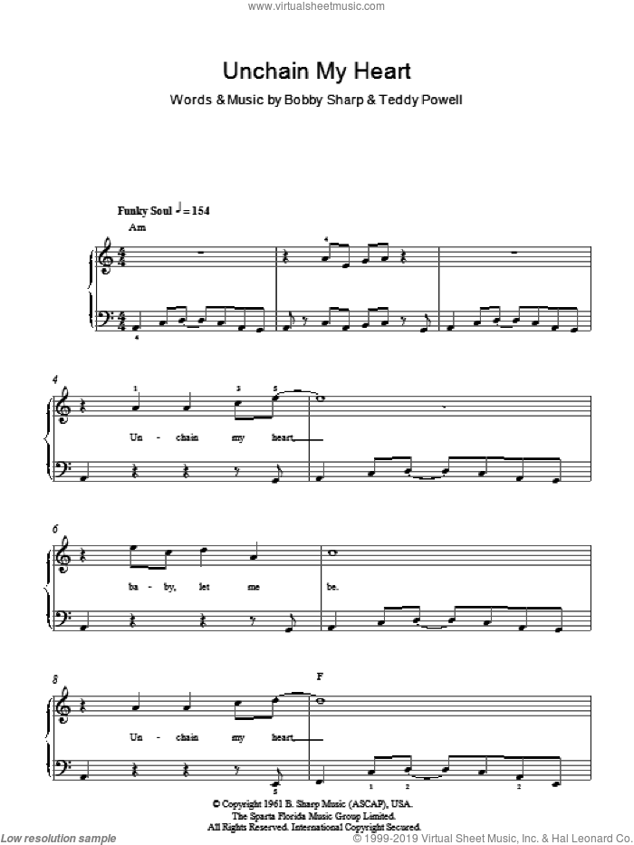 Unchain My Heart sheet music for piano solo by Ray Charles, Bobby Sharp and Teddy Powell, easy. Score Image Preview.