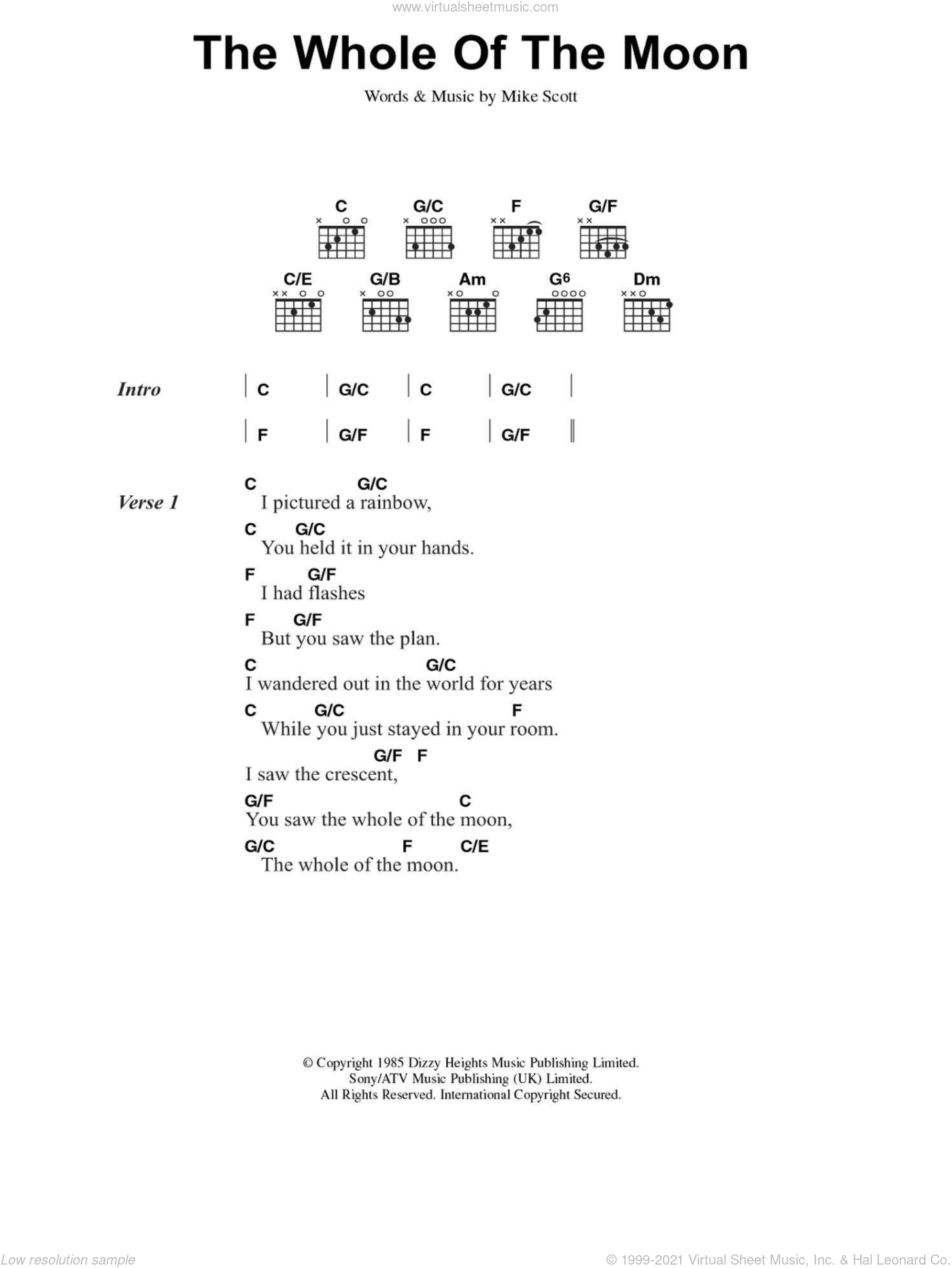 The Whole Of The Moon sheet music for guitar (chords, lyrics, melody) by Mike Scott