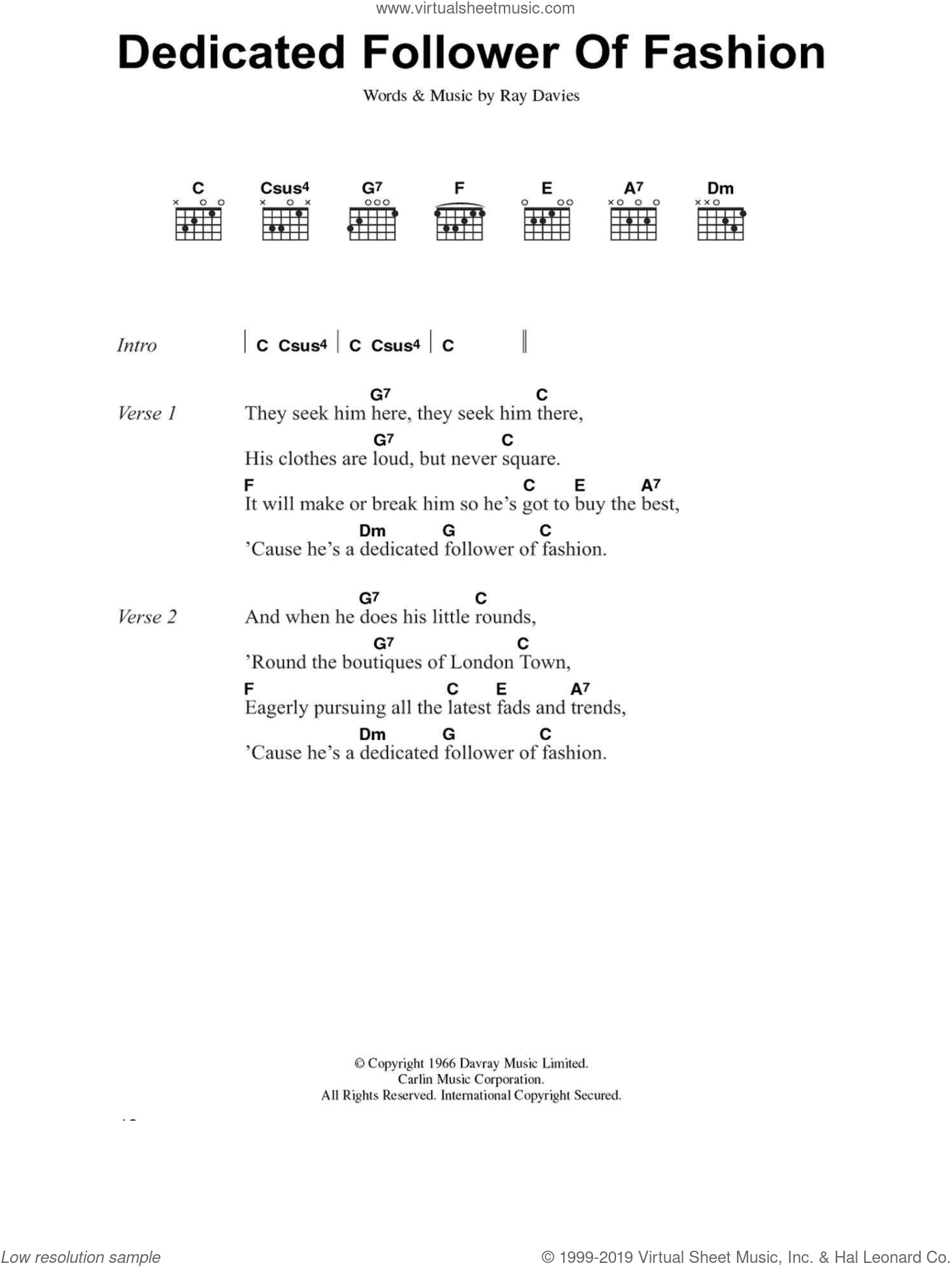 Dedicated Follower Of Fashion sheet music for guitar (chords) by Ray Davies. Score Image Preview.