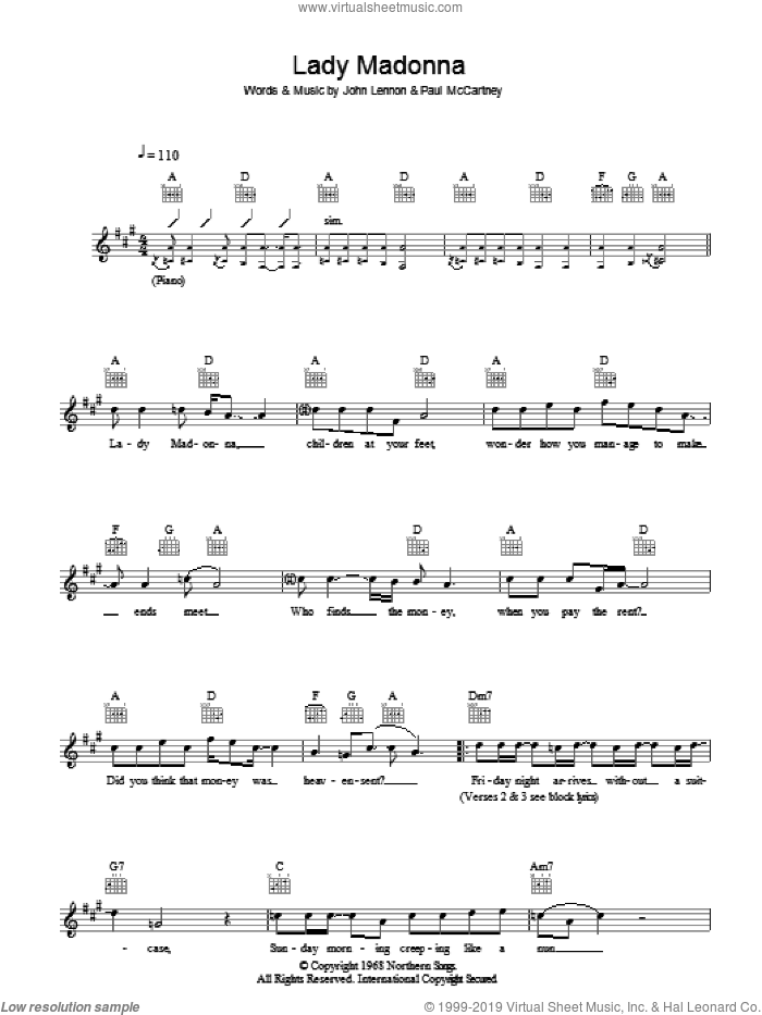 Lady Madonna sheet music for voice and other instruments (fake book) by The Beatles, John Lennon and Paul McCartney, intermediate voice. Score Image Preview.