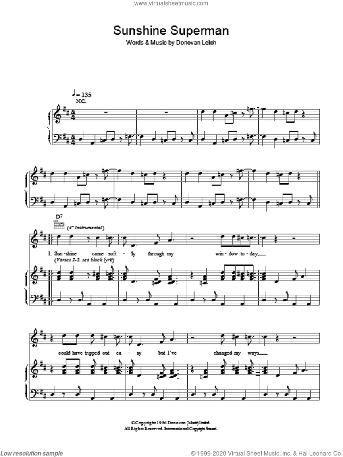 Sunshine Superman sheet music for voice, piano or guitar by Walter Donovan and Donovan Leitch, intermediate skill level