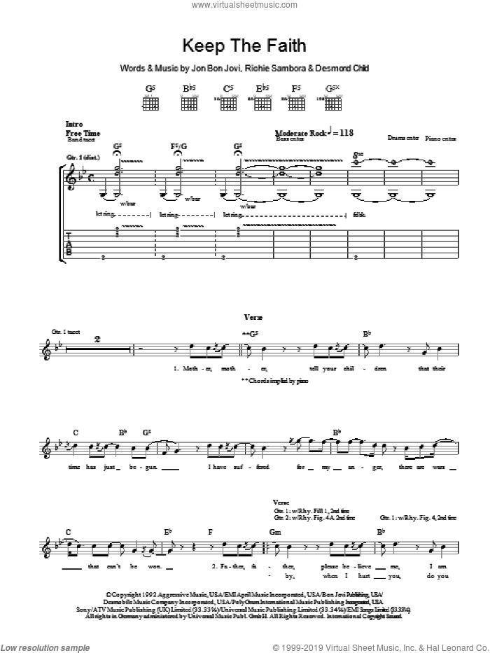 Keep The Faith sheet music for guitar (tablature) by Bon Jovi, Desmond Child and Richie Sambora. Score Image Preview.