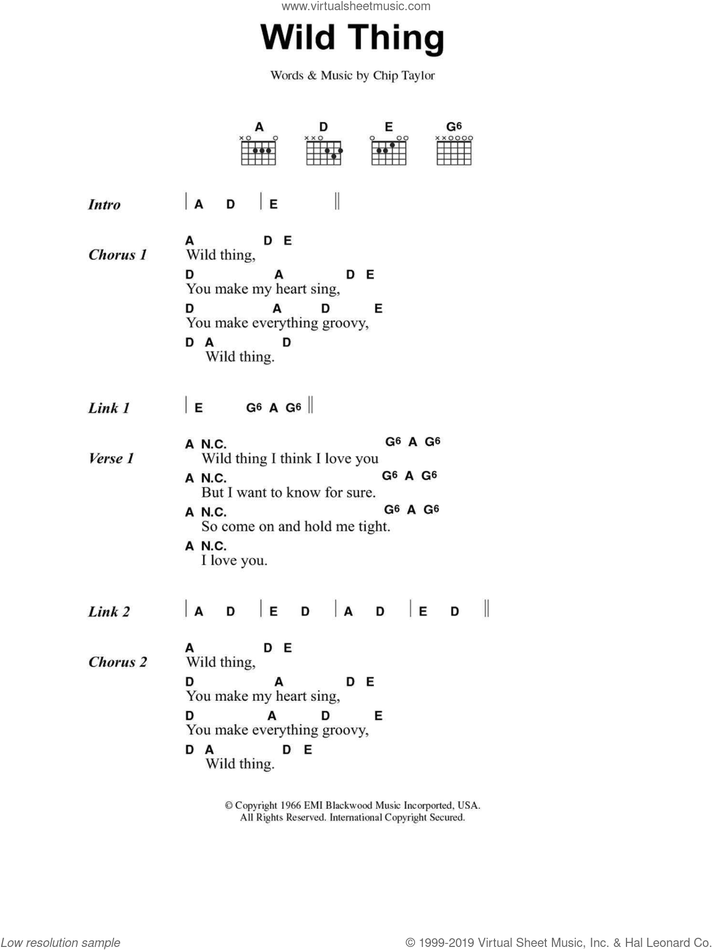 Wild Thing sheet music for guitar (chords) by The Troggs and Chip Taylor, intermediate. Score Image Preview.