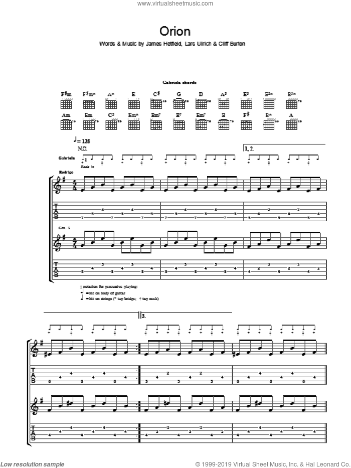 Orion sheet music for guitar (tablature) by Cliff Burton, Rodrigo y Gabriela, James Hetfield and Lars Ulrich. Score Image Preview.