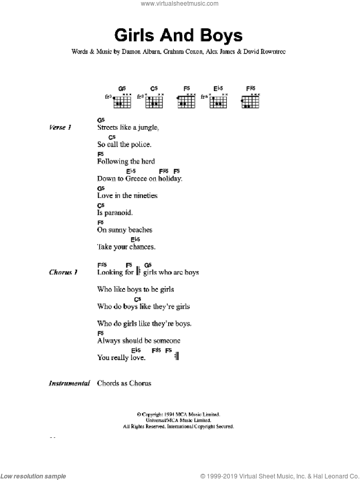 Girls And Boys sheet music for guitar (chords) by Blur, Alex James, Damon Albarn, David Rowntree and Graham Coxon, intermediate. Score Image Preview.