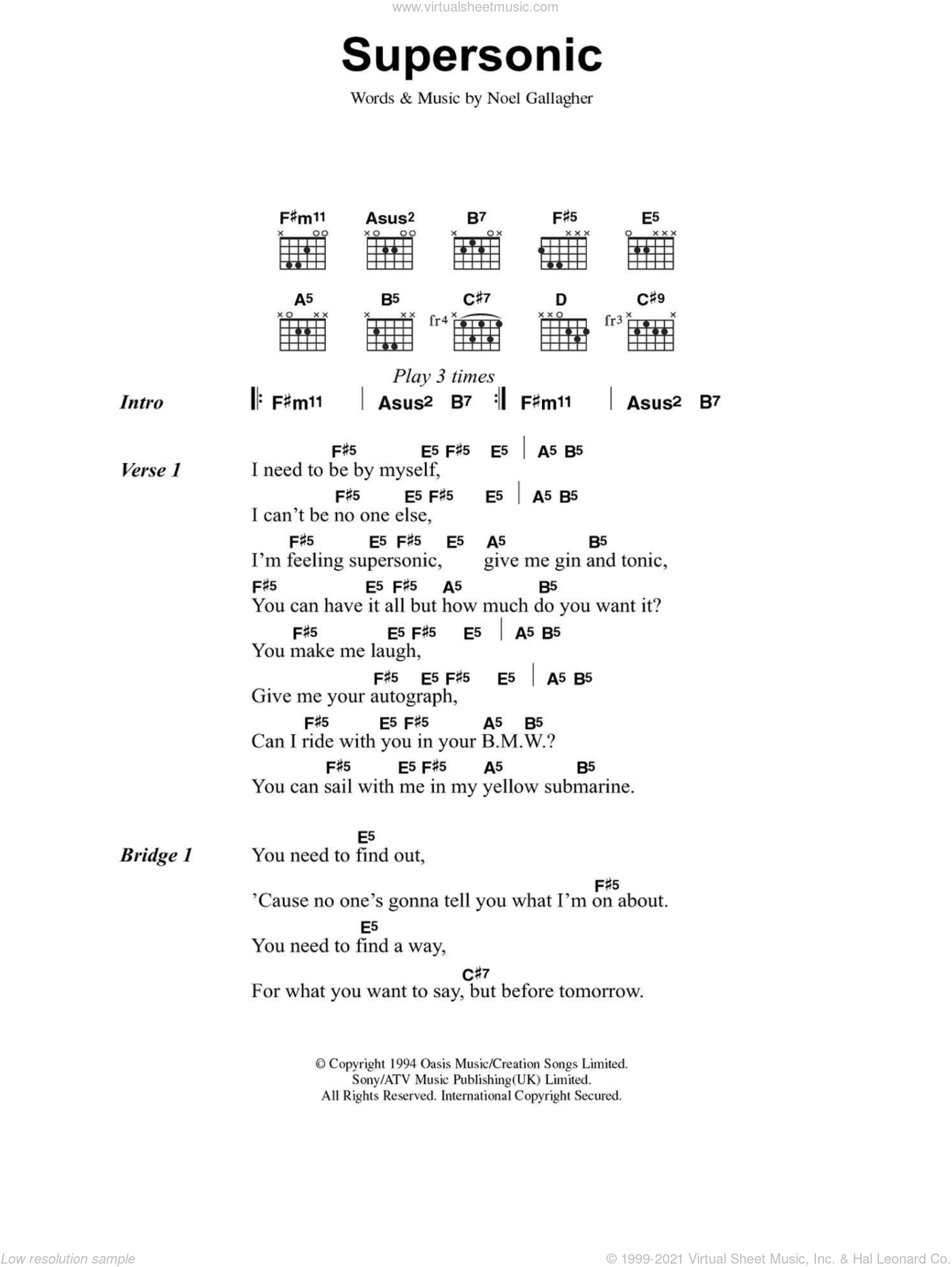 Supersonic sheet music for guitar (chords) by Oasis and Noel Gallagher, intermediate skill level