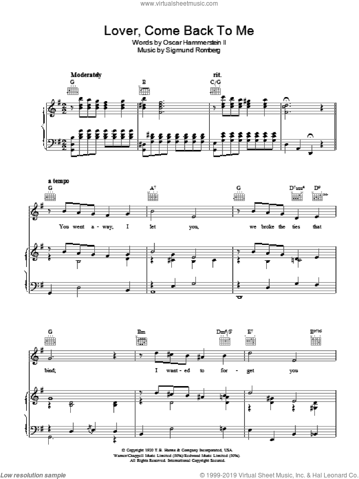 Lover, Come Back To Me sheet music for voice, piano or guitar by Oscar II Hammerstein and Sigmund Romberg. Score Image Preview.
