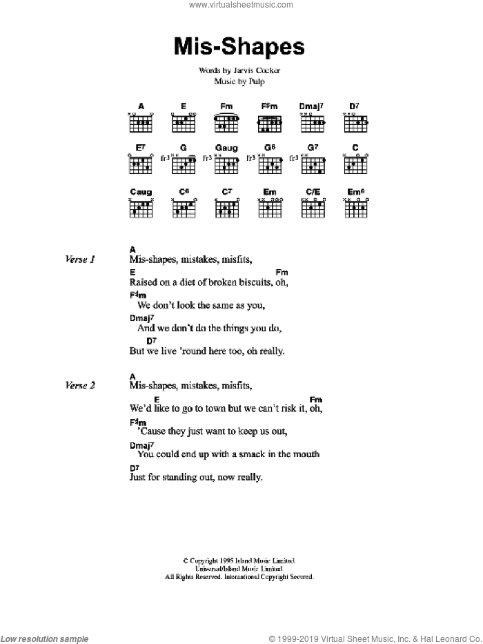 Mis-shapes sheet music for guitar (chords) by Jarvis Cocker