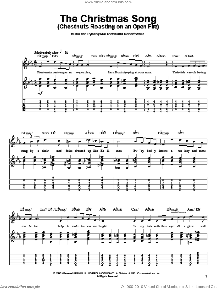The Christmas Song (Chestnuts Roasting On An Open Fire) sheet music for guitar (tablature, play-along) by Mel Torme and Robert Wells. Score Image Preview.