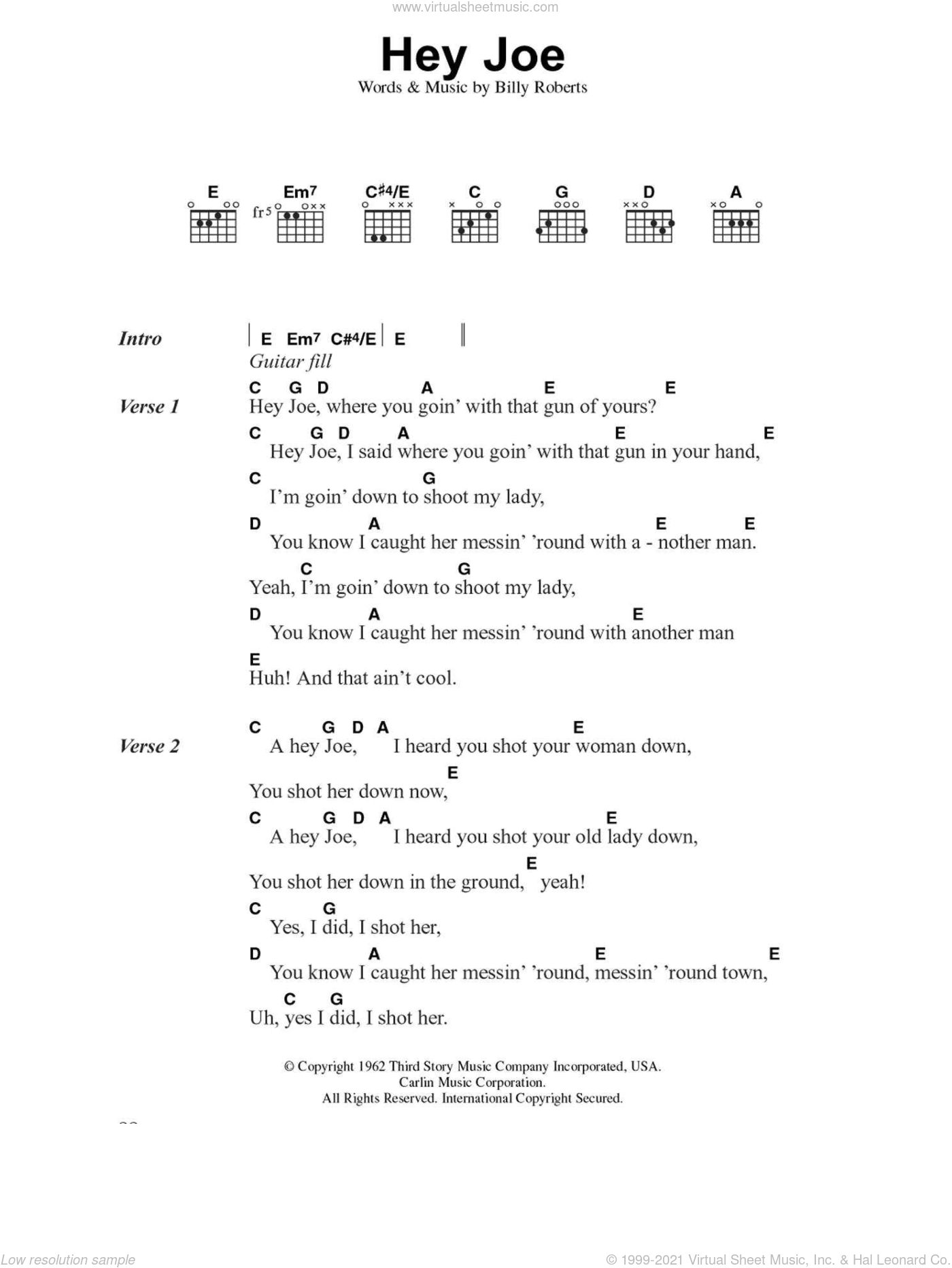 Hey Joe sheet music for guitar (chords, lyrics, melody) by Billy Roberts