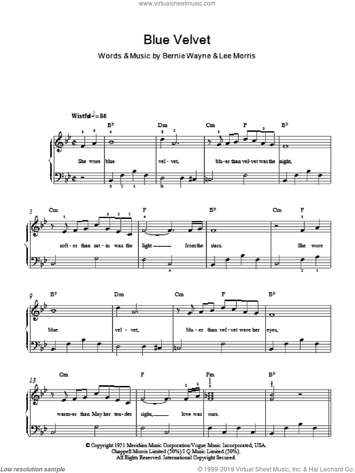 Blue Velvet sheet music for piano solo (chords) by Bernie Wayne