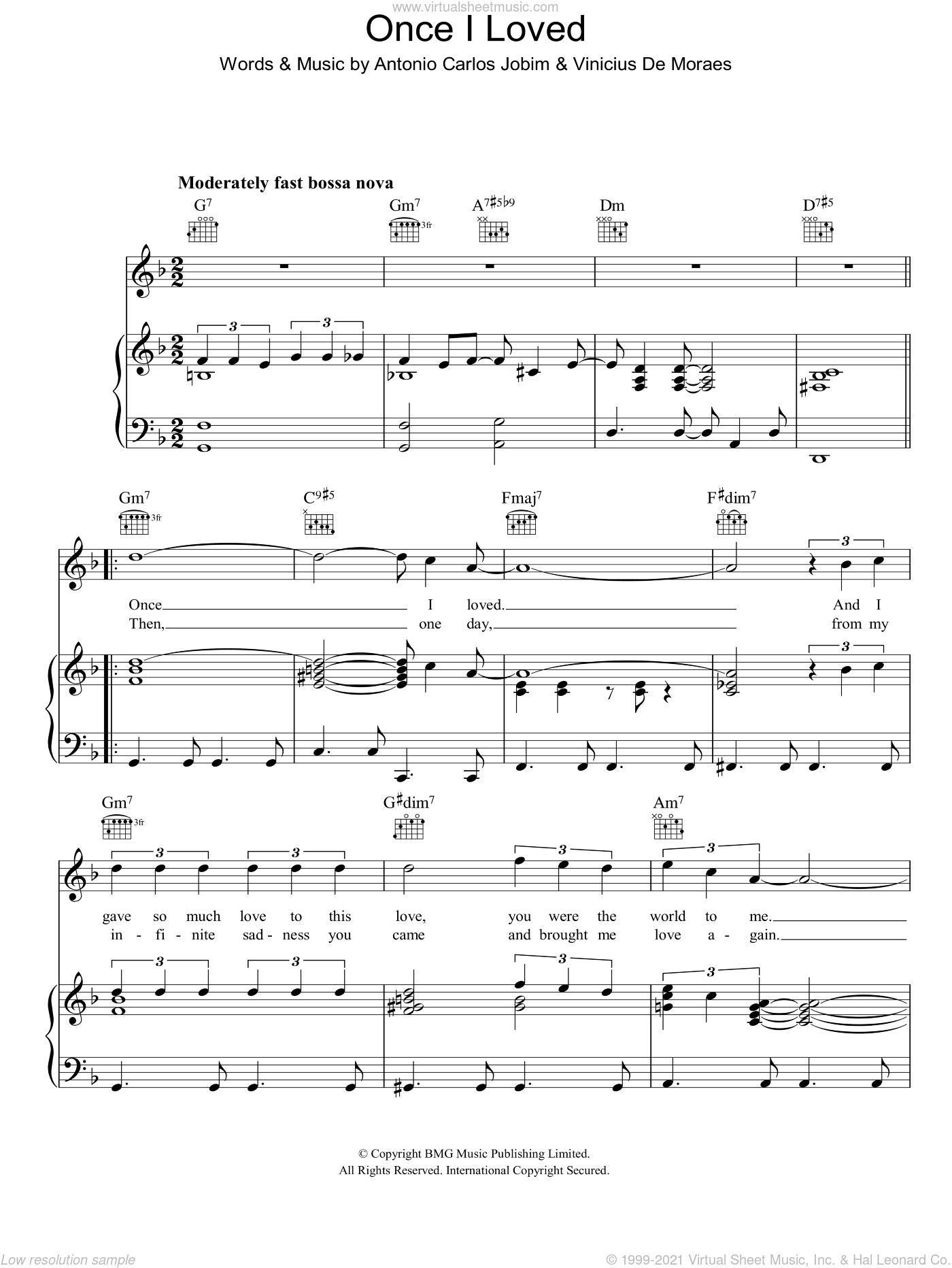 Once I Loved sheet music for voice, piano or guitar by Antonio Carlos Jobim and Vinicius de Moraes, intermediate skill level