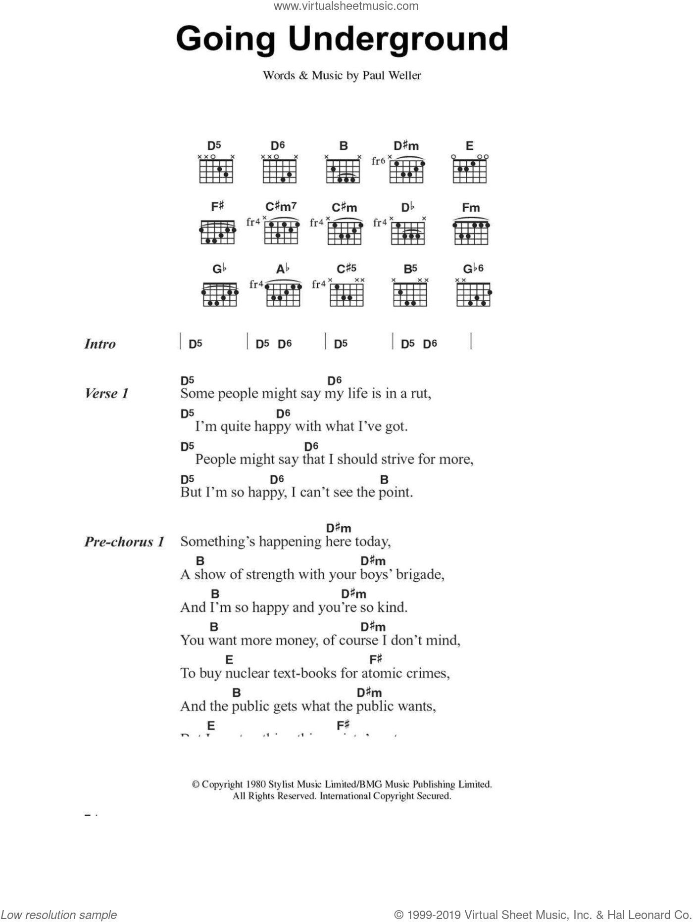 Jam - Going Underground sheet music for guitar (chords) [PDF]