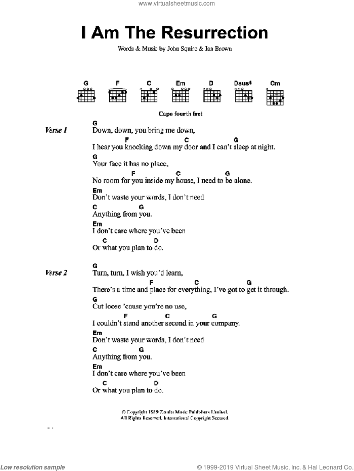 Roses I Am The Resurrection Sheet Music For Guitar Chords