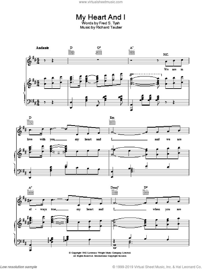 My Heart And I sheet music for voice, piano or guitar by Richard Tauber. Score Image Preview.