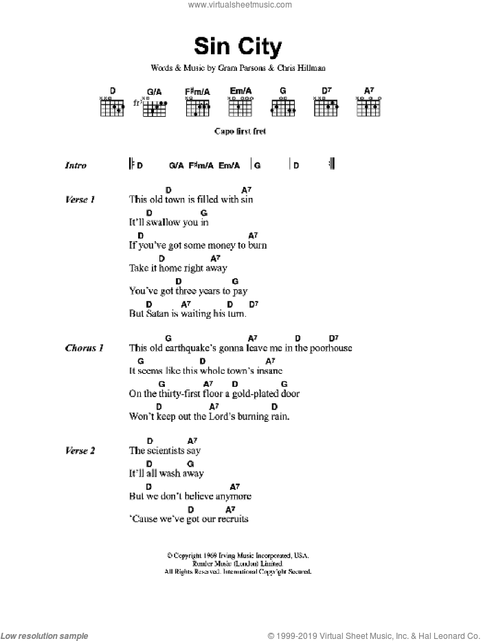 Sin City sheet music for guitar (chords) by Chris Hillman, The Flying Burrito Brothers and Gram Parsons. Score Image Preview.