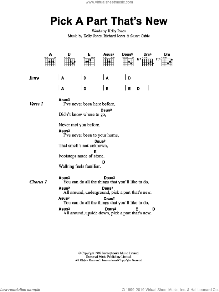 Pick A Part That's New sheet music for guitar (chords) by The Stereophonics, Kelly Jones, RICHARD JONES and STUART CABLE, intermediate. Score Image Preview.