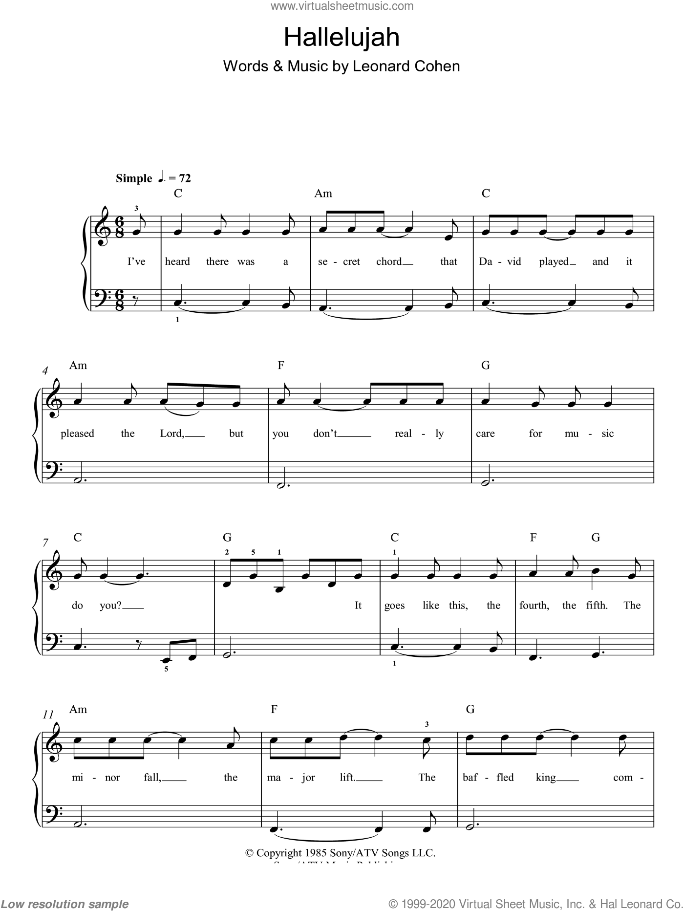 Hallelujah sheet music for piano solo by Rufus Wainwright and Leonard Cohen, easy skill level