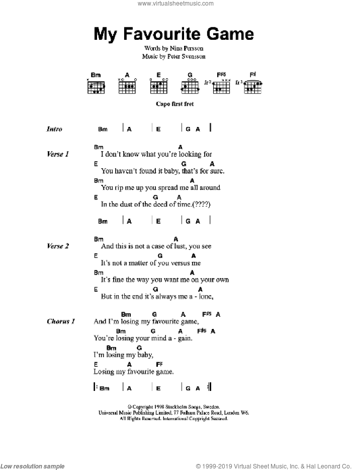 My Favourite Game sheet music for guitar (chords) by The Cardigans and Peter Svensson, intermediate. Score Image Preview.