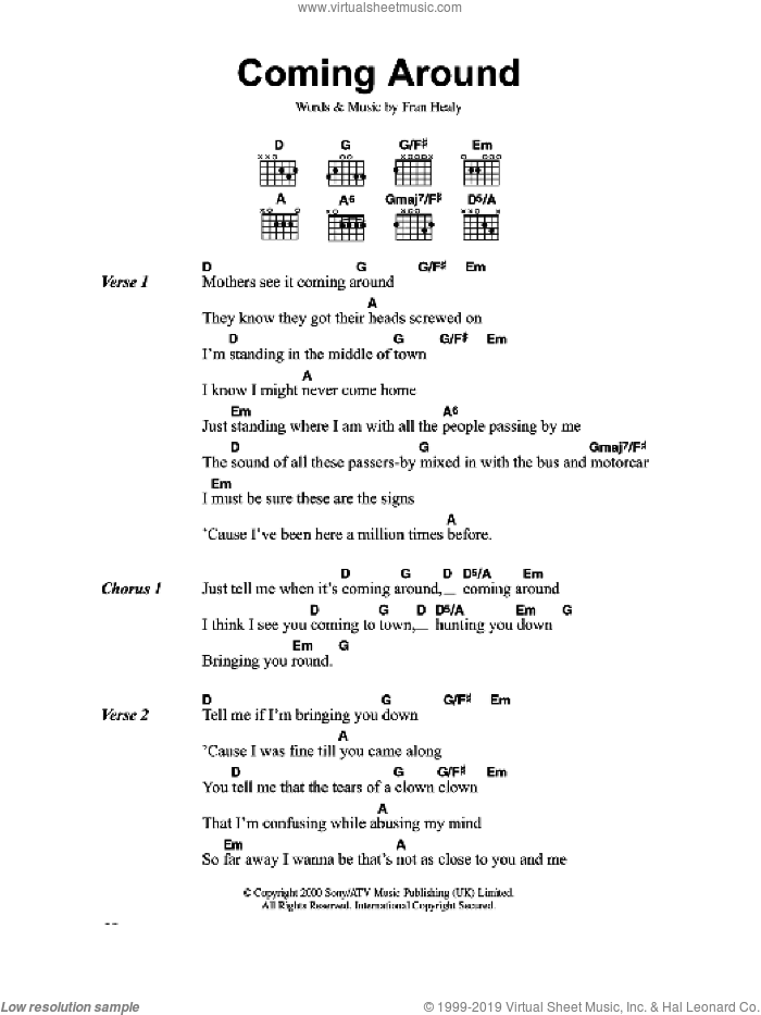 Coming Around sheet music for guitar (chords) by Merle Travis and Fran Healy, intermediate skill level