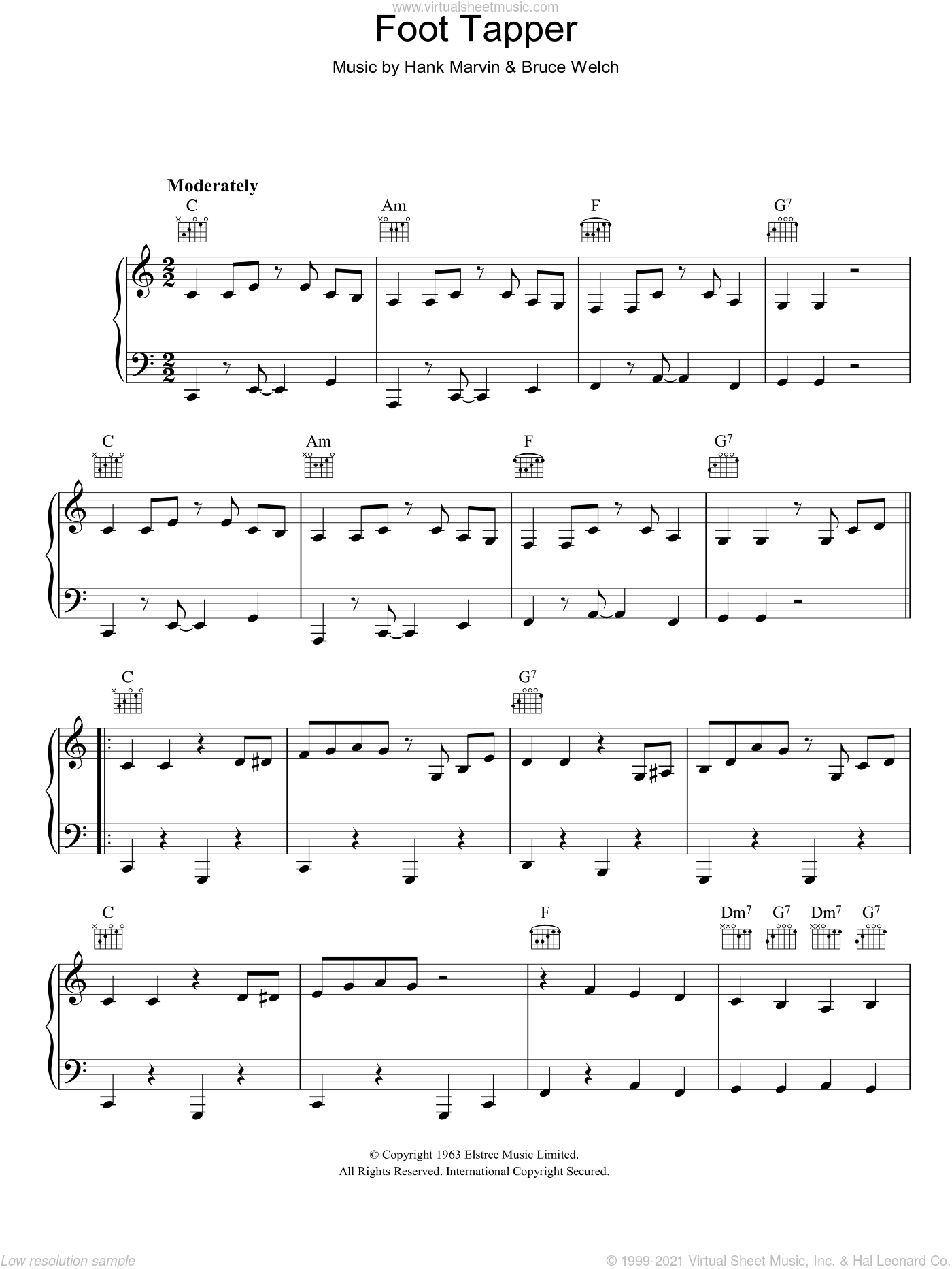 Foot Tapper sheet music for voice, piano or guitar by The Shadows, Bruce Welch and Hank Marvin, intermediate skill level