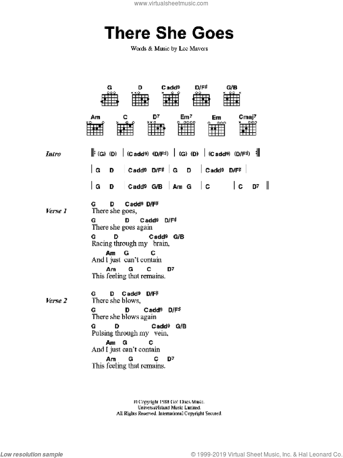 There She Goes sheet music for guitar (chords) by Lee Mavers