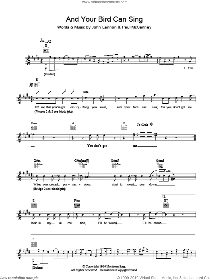 And Your Bird Can Sing sheet music for voice and other instruments (fake book) by The Beatles, John Lennon and Paul McCartney, intermediate skill level