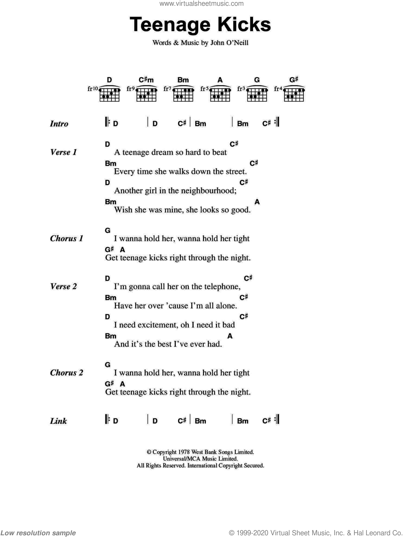 Teenage Kicks sheet music for guitar (chords) by The Undertones, intermediate. Score Image Preview.