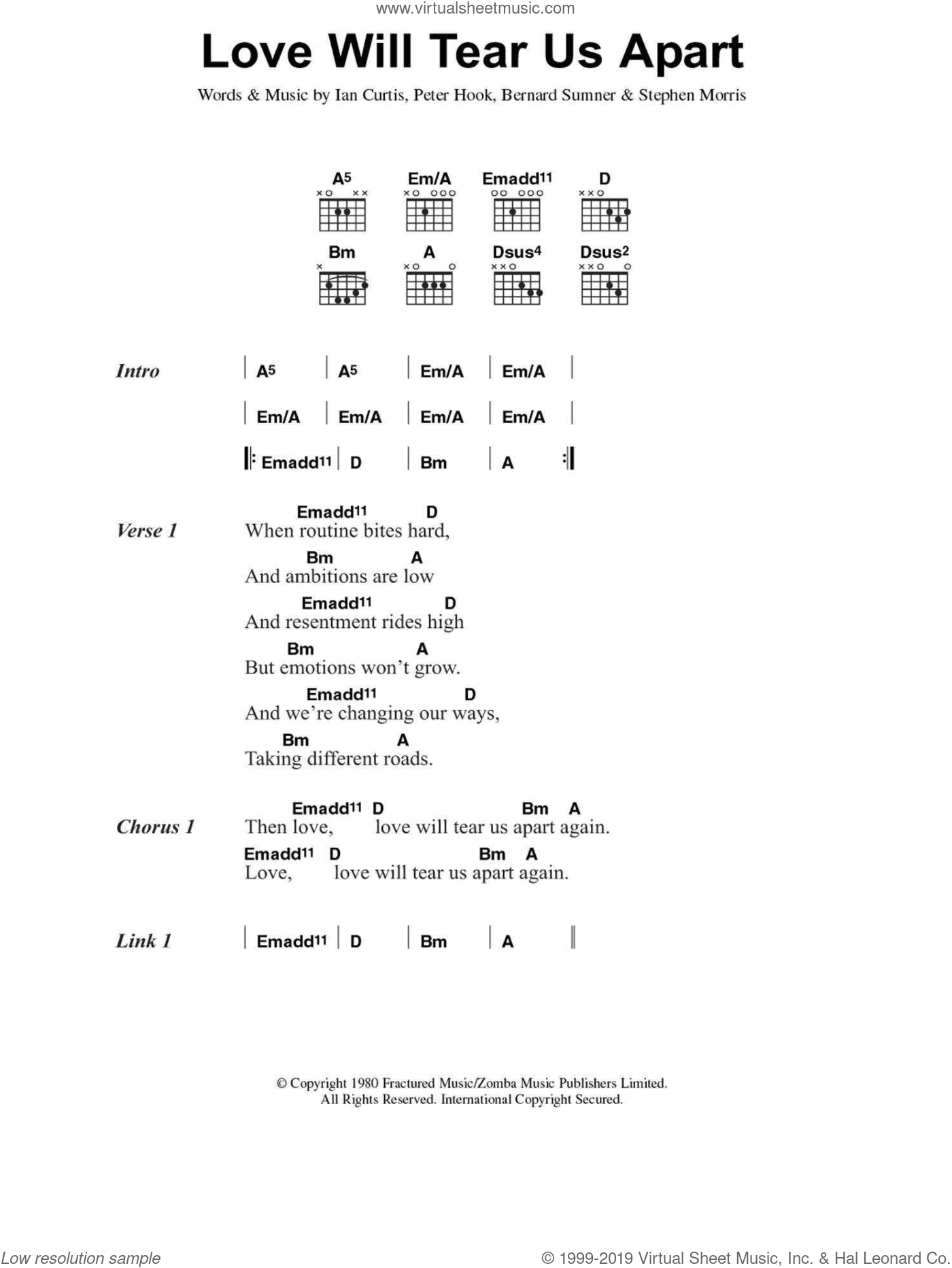 Love Will Tear Us Apart sheet music for guitar (chords) by Bernard Sumner, Peter Hook and Stephen Morris. Score Image Preview.