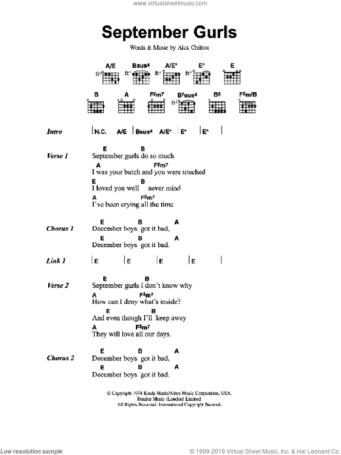 September Gurls sheet music for guitar (chords) by Big Star and Alex Chilton, intermediate skill level