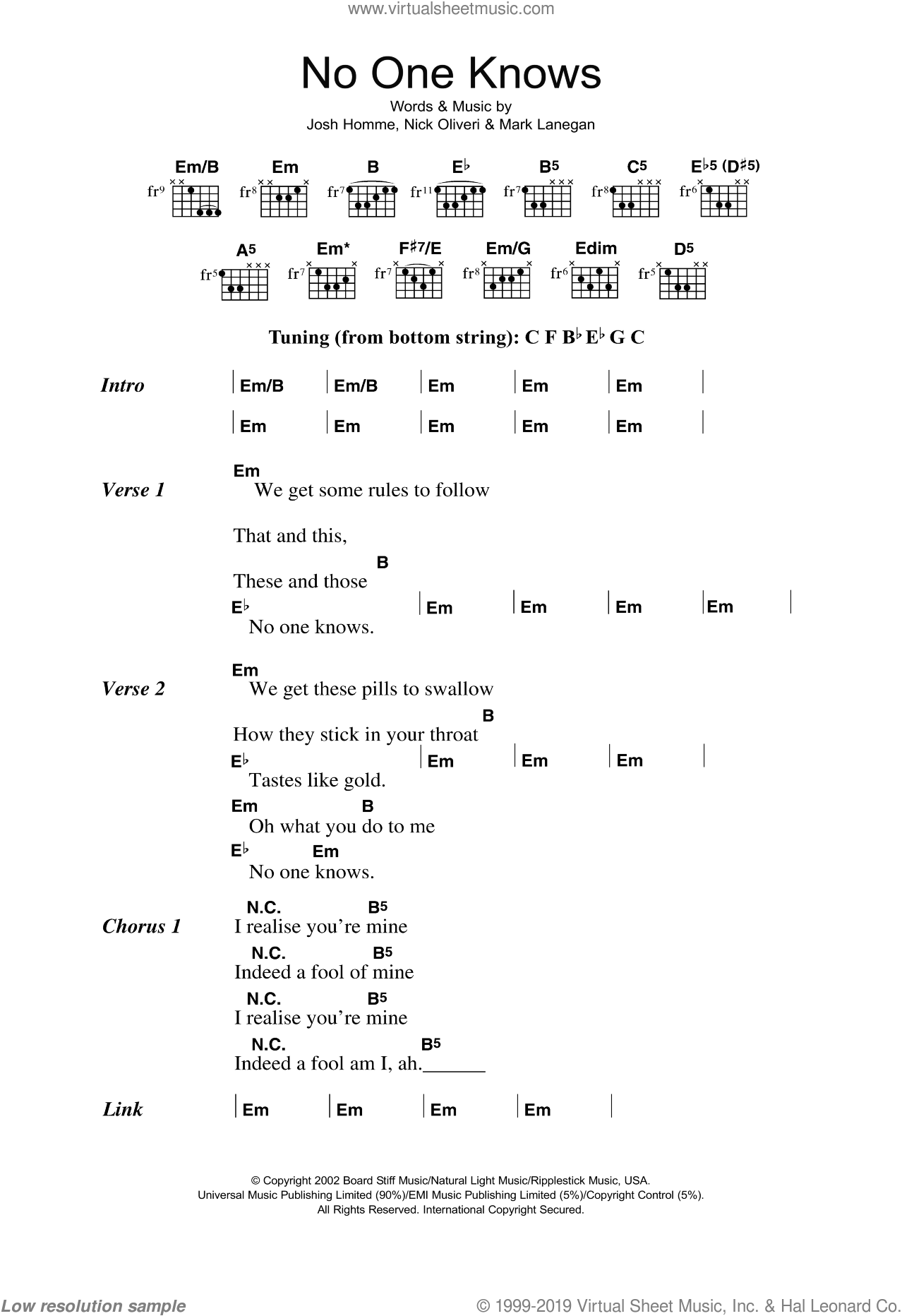 Age - No One Knows sheet music for guitar (chords) [PDF]