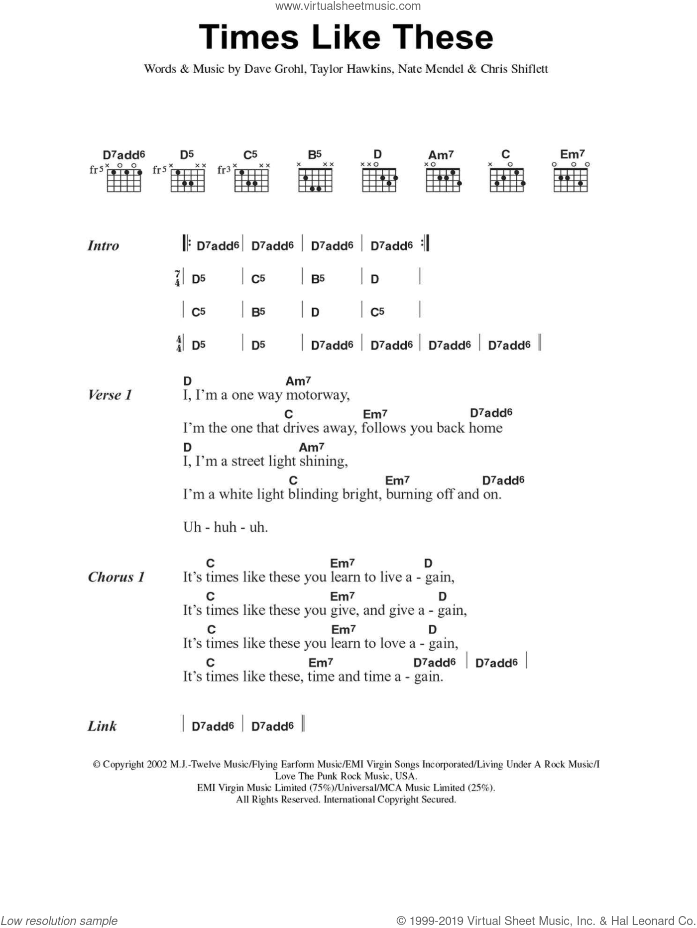Times Like These sheet music for guitar (chords) by Chris Shiflett, Foo Fighters, Dave Grohl, Nate Mendel and Taylor Hawkins. Score Image Preview.