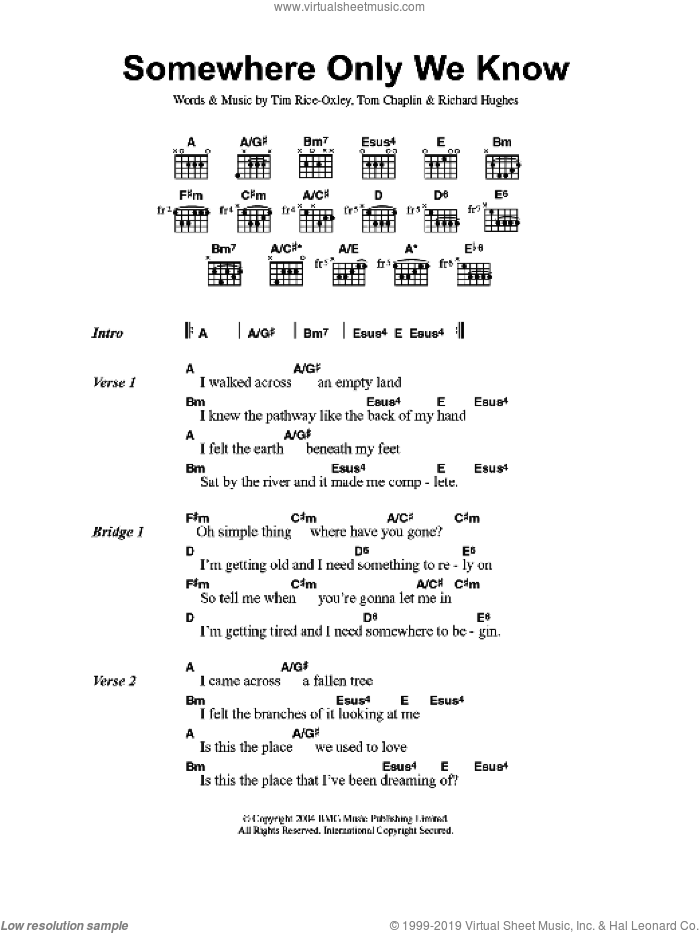 Somewhere Only We Know sheet music for guitar (chords, lyrics, melody) by Richard Hughes