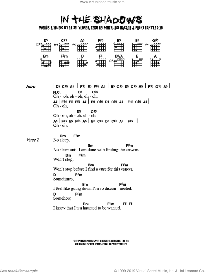 In The Shadows sheet music for guitar (chords) by The Rasmus. Score Image Preview.