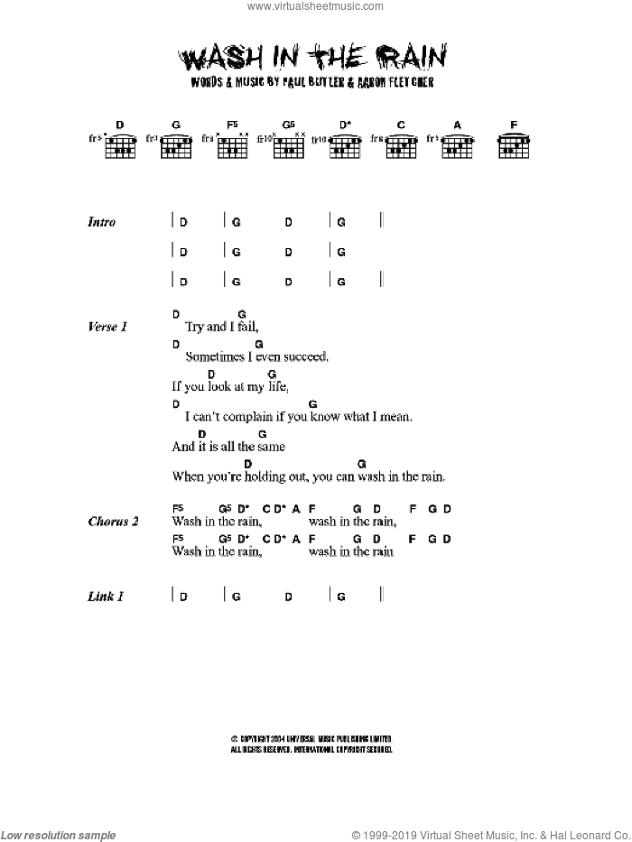 Wash In The Rain sheet music for guitar (chords, lyrics, melody) by Aaron Fletcher