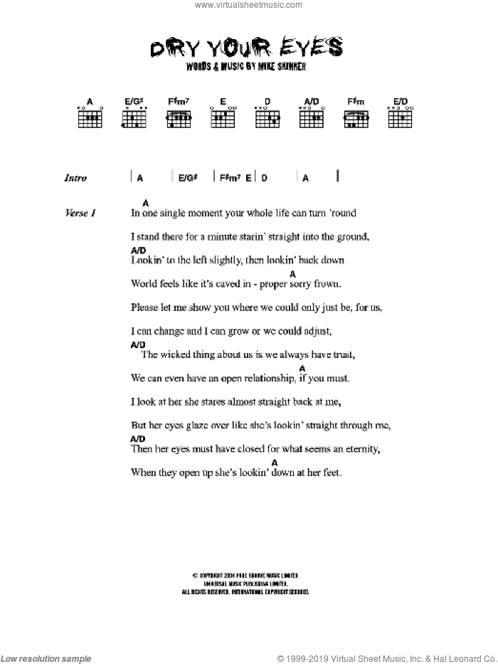Dry Your Eyes sheet music for guitar (chords) by Mike Skinner. Score Image Preview.