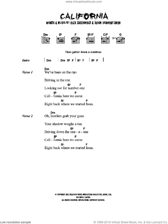 California (theme from The OC) sheet music for guitar (chords) by Phantom Planet, Al Jolson, Alex Greenwald, Buddy DeSylva, Darren Robinson, Jason Schwartzman, Joseph Meyer and Sam Farrar, intermediate guitar (chords). Score Image Preview.