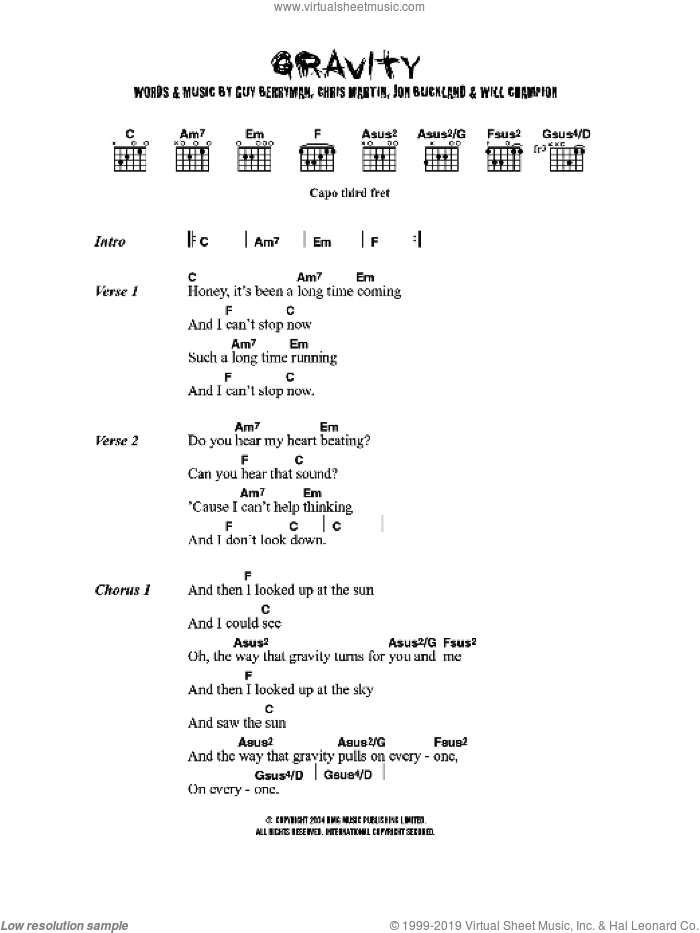 Gravity sheet music for guitar (chords) by Embrace. Score Image Preview.
